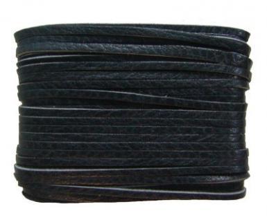 weiches Leder Flechtband Ziegenleder auf Karte schwarz, Länge 10 m, Breite ca. 2, 5 mm, Stärke ca. 1, 0 mm