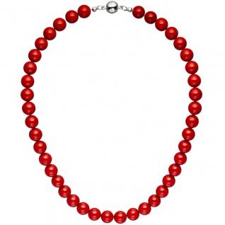 Halskette Kette Muschelkern Perlen rot 45 cm Perlenkette