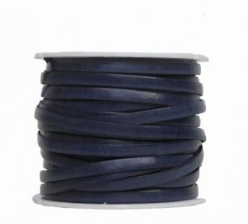 Ziegenleder Lederriemen, Lederband flach dunkelblau, Kanten schwarz gefärbt, Länge 25 m, Breite ca. 5 mm, Stärke ca. 1, 0 mm