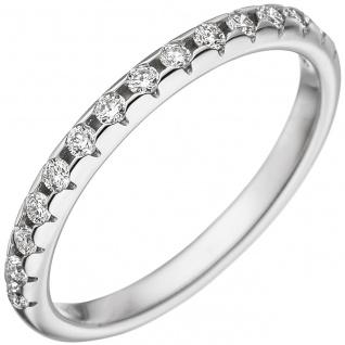 Damen Ring 585 Gold Weißgold 15 Diamanten Brillanten Weißgoldring Diamantring