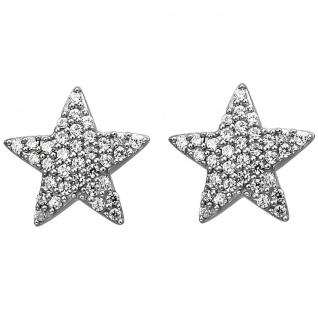 Damen Ohrstecker Stern 925er Sterling Silber mit 68 Zirkonias, Silber Ohrringe