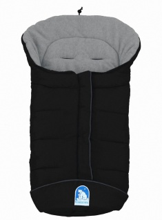 molliger Baby Winter Fleece Fußsack schwarz-grau, voll waschbar, für Kinderwa...