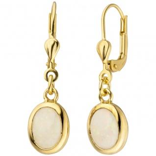 Ohrhänger 585 Gold Gelbgold 2 Opale Ohrringe Goldohrringe Opalohrringe