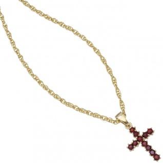 Anhänger Kreuz 333 Gold Gelbgold 11 Granate rot Kreuzanhänger Granatkreuz