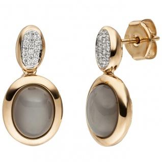 Ohrstecker 585 Gold Rotgold 2 Mondstein Cabochons 32 Diamanten Brillanten