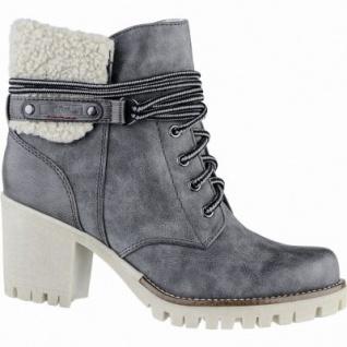 s.Oliver stylishe Damen Leder-Imitat Winter Stiefel graphite, molliges Warmfutter, Soft-Foam-Fußbett, 1639332