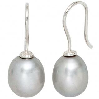 Ohrhänger 925 Sterling Silber 2 graue Süßwasser Perlen Ohrringe Perlenohrringe