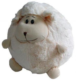 süßes Stofftier Kuscheltier Kugel Schaf weiß aus Mikrofaser, voll waschbar bei 30 Grad, Ø ca. 25 cm