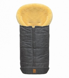 großer Baby Premium Winter Lammfell Fußsack grau meliert waschbar, Kinderwagen, Buggy, ca. 100x44 cm, komplett aufklappbar