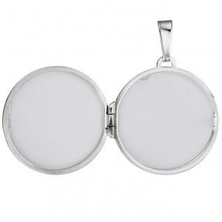 Medaillon rund für 2 Fotos 925 Sterling Silber matt Anhänger zum Öffnen