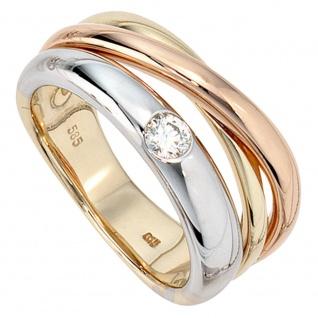 Damen Ring 585 Gold dreifarbig tricolor 1 Diamant Brillant 0, 15ct. Goldring
