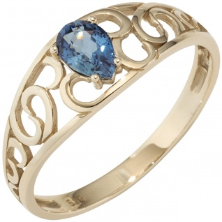 Damen Ring 585 Gold Gelbgold 1 Safir blau Goldring