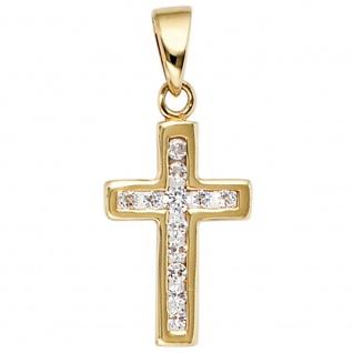 Anhänger Kreuz 333 Gold Gelbgold 12 Zirkonia Kreuzanhänger Goldkreuz
