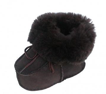warme Lammfell Babyschuhe dunkelbraun mit Fellkragen und Kordel, Gerbung ohne...