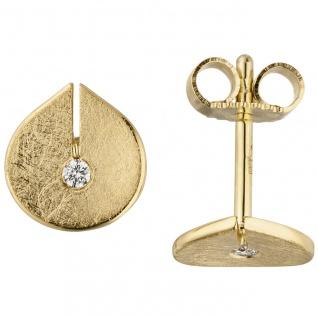 Ohrstecker 585 Gold Gelbgold eismatt 2 Diamanten Brillanten Ohrringe