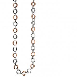 Collier Halskette aus Edelstahl rotgold farben beschichtet bicolor 47 cm Kette - Vorschau 1