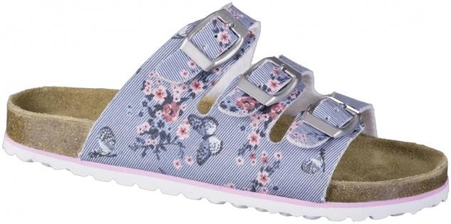 SUPERSOFT leichte Mädchen Textil Bio Ppantoletten blue, lederbezogenes Bio Ko...