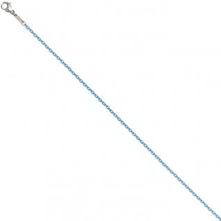Rundankerkette Edelstahl blau lackiert 45 cm Kette Halskette Karabiner
