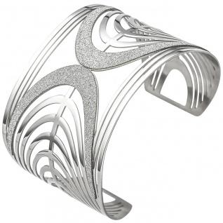 Armspange / offener Armreif aus Edelstahl mit Glitzereffekt Armband breit