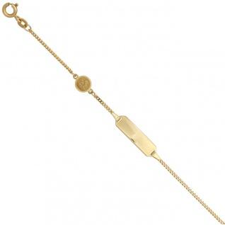 Schildband Engel 585 Gold Gelbgold mattiert 14 cm Gravur ID Armband Federring
