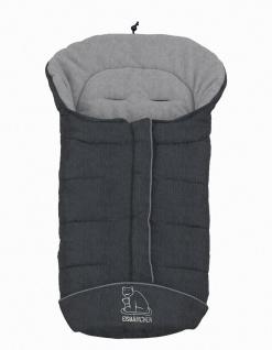 molliger Baby Winter Fleece Fußsack grau meliert, voll waschbar, für Kinderwa...