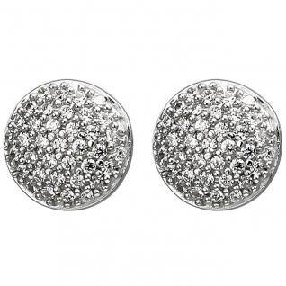 runde Silber Ohrstecker, 925er Sterling Silber mit 74 Zirkonias, Durchmesser ...