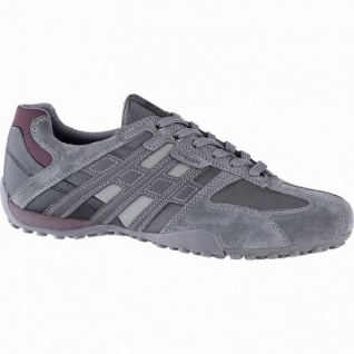 Geox sportliche Herren Leder Sneakers anthracite, Meshfutter, chromfrei, herausnehmbare Einlegesohle, 2141111/47