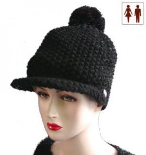 Damen und Herren Woll Strickmütze mit Bommel und Schirm schwarz, Wintermütze
