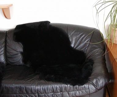 australische Doppel Lammfelle aus 1, 5 Fellen schwarz gefärbt geschoren, Haarl...