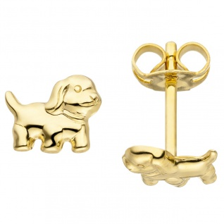 Ohrstecker Hund 333 Gold Gelbgold Ohrringe Goldohrringe Hundeohrringe
