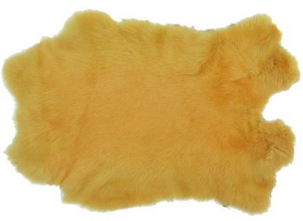 Kaninchenfelle gelb gefärbt, ca. 30x30 cm, Felle vom Kaninchen mit seidigem Haar