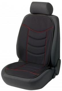 weiche Universal Auto Sitzauflage Elegance schwarz rot hohes Rückenteil, 30 Grad waschbar, alle PKW