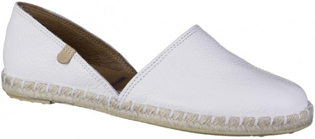 VERBENAS Carmen Damen Leder Slippers blanco, softe Leder Decksohle