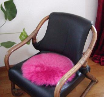 runde Sitzauflage aus australischen Lammfellen, Fellkissen pink, Ø ca. 45 cm, waschbar, Haarlänge ca. 70 mm