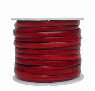 Ziegenleder Lederriemen, Lederband flach rot, Kanten schwarz gefärbt, Länge 25 m, Breite ca. 5 mm, Stärke ca. 1, 0 mm
