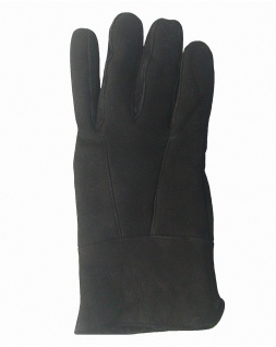 Herren Velourleder Lammfell Fingerhandschuhe aus Fellstücken schwarz, Herren ...
