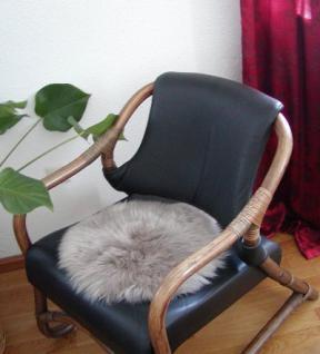 runde Sitzauflage aus australischen Lammfellen, Fellkissen rund taupe, Ø ca. 45 cm, waschbar, Haarlänge ca. 70 mm