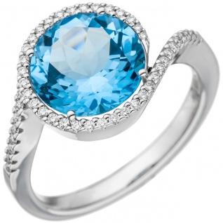 Damen Ring 585 Weißgold 1 Blautopas hellblau blau 47 Diamanten Brillanten