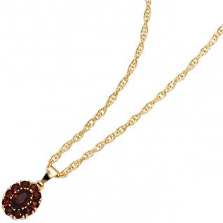 Anhänger oval 375 Gold Gelbgold 11 Granate rot Granatanhänger