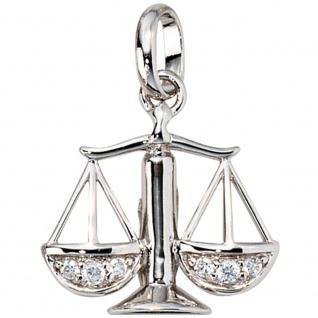 Anhänger Sternzeichen Waage 925 Silber mit Zirkonia Sternzeichenanhänger