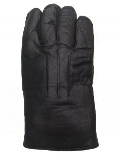 Herren Ziegenleder Fingerhandschuhe mit Lammfell schwarz, Größe 8