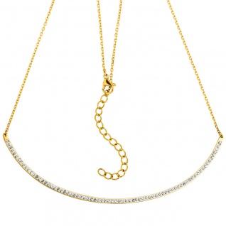 Collier Kette mit Anhänger Edelstahl gold farben mit Kristallen 50 cm