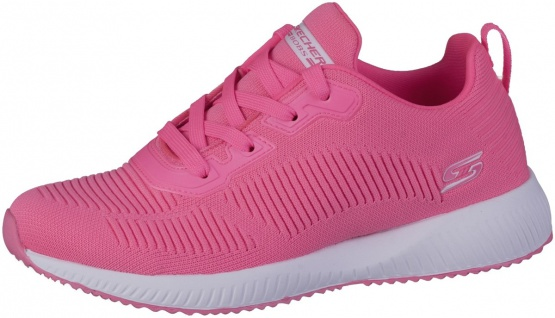 SKECHERS Bobs Squad Damen Sneakers neon pink, Strickmaterial, Memory Foam Fuß...