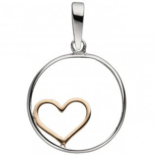 Anhänger Herz 925 Sterling Silber bicolor vergoldet Herzanhänger