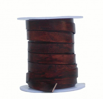 Rindleder Flachband antik im used look cherry braun, Länge 10 m, Breite 10 mm...