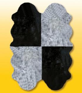Fellteppiche grau-schwarz aus 4 Lammfellen, Größe ca. 185 x 125 cm, 30 Grad waschbar