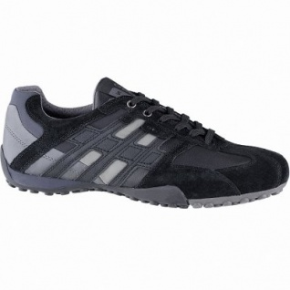 Geox sportliche Herren Leder Sneakers black, Meshfutter, chromfrei, herausnehmbare Einlegesohle, 2141110/41