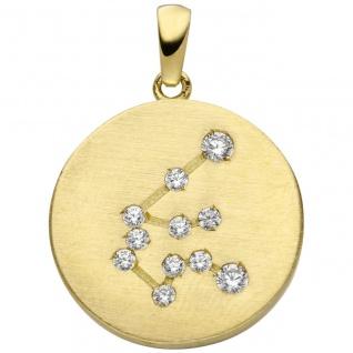 Anhänger Sternzeichen Wassermann 333 Gold Gelbgold matt 11 Zirkonia Goldanhä