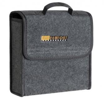 praktische Kofferraum Auto KFZ Tasche S grau mit Klettverschluss+Druckknöpfen 29x28x13 cm, Werkzeugtasche, Auto Organizer