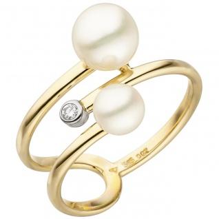 Damen Ring 585 Gelbgold 2 Süßwasser Perlen 1 Diamant Brillant